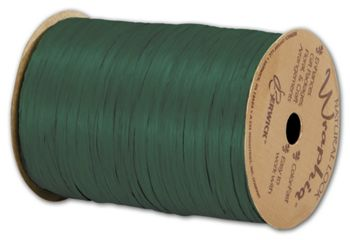 Matte Wraphia Hunter Green Ribbon, 1/4