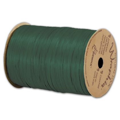 "Matte Wraphia Hunter Green Ribbon, 1/4"" x 100 Yds"