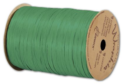 "Matte Wraphia Kelly Green Ribbon, 1/4"" x 100 Yds"