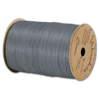 "Matte Wraphia Charcoal Ribbon, 1/4"" x 100 Yds"