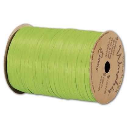 """Matte Wraphia Chartreuse Ribbon, 1/4"""" x 100 Yds"""