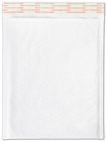 White Self-Seal Bubble Mailers, 8 1/2 x 12