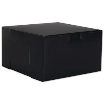 Black No Window Bakery Boxes, 1 Piece, 7 x 7 x 4