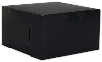 "Black No Window Bakery Boxes, 1 Piece, 7 x 7 x 4"""