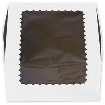 White Windowed Standard Cupcake Boxes, 4 Cupcakes