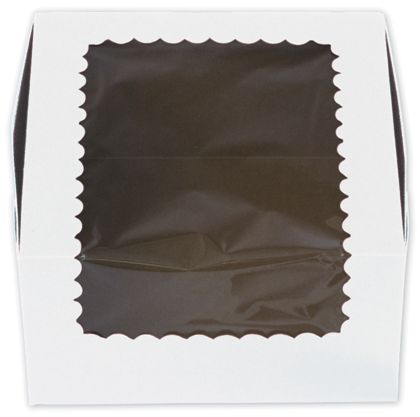 White Windowed Standard Cupcake Boxes, 4 Cupcakes