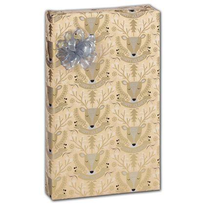"""Golden Deer Gift Wrap, 30"""" x 417'"""