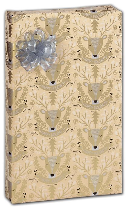 """Golden Deer Gift Wrap, 30"""" x 208'"""