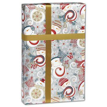 Swirly Snowman Gift Wrap, 30