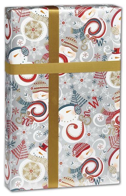 "Swirly Snowman Gift Wrap, 30"" x 208'"