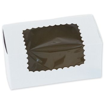 White Windowed Standard Cupcake Boxes, 2 Cupcakes