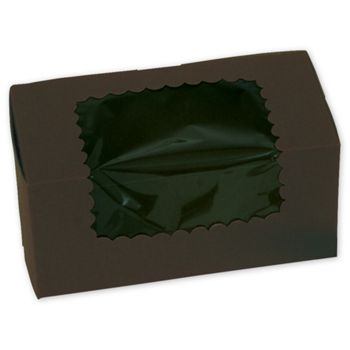 Chocolate Windowed Standard Cupcake Boxes, 2 Cupcakes