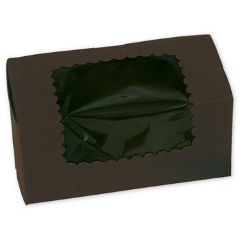 Chocolate Windowed Standard Cupcake Boxes, 2 Cupcakes