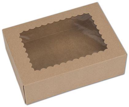 "Kraft Windowed Bakery Boxes, 1 Piece, 8 x 5 3/4 x 2 1/2"""