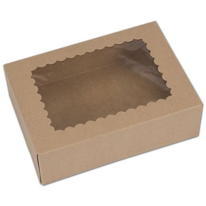 Kraft Windowed Bakery Boxes, 1 Piece, 8 x 5 3/4 x 2 1/2""