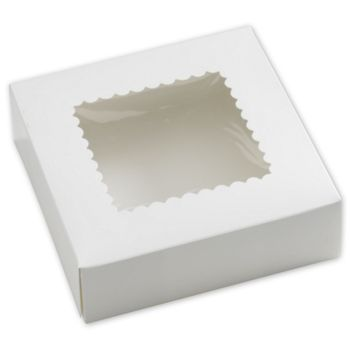 White Windowed Bakery Boxes, 1 Piece, 8 x 8 x 2 1/2