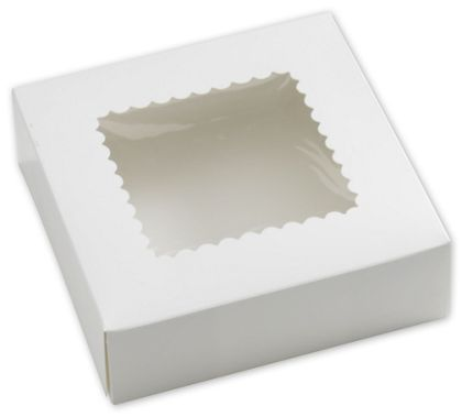 White Windowed Bakery Boxes, 1 Piece, 8 x 8 x 2 1/2""