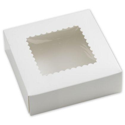 "White Windowed Bakery Boxes, 1 Piece, 8 x 8 x 2 1/2"""