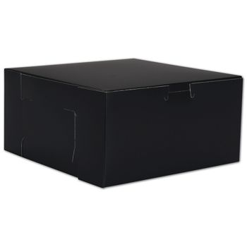 Black No Window Bakery Boxes, 1 Piece, 8 x 8 x 4