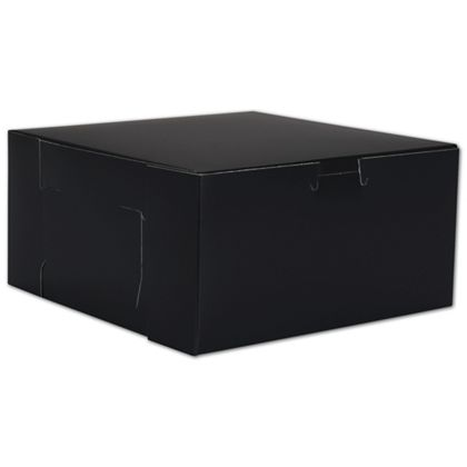 Black No Window Bakery Boxes, 1 Piece, 8 x 8 x 4""