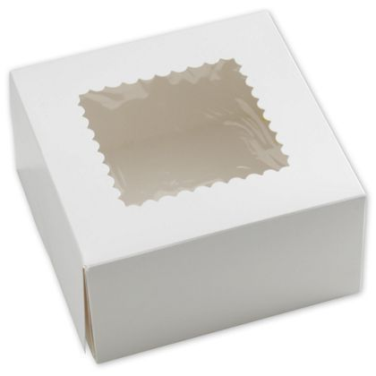 White Windowed Bakery Boxes, 1 Piece, 8 x 8 x 4""