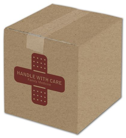 Kraft Printed Corrugated Boxes, 1 Color/1 Side, 8 x 8 x 8""