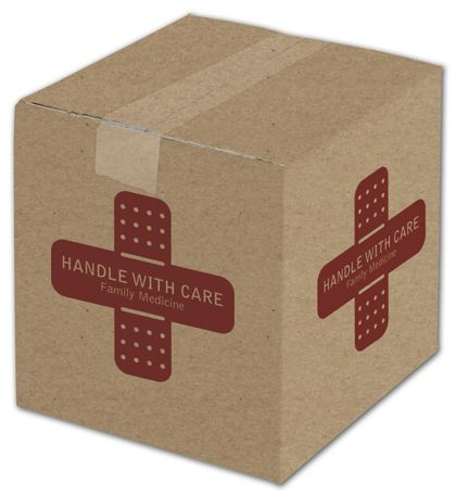 Kraft Printed Corrugated Boxes, 1 Color/4 Sides, 8x8x8""