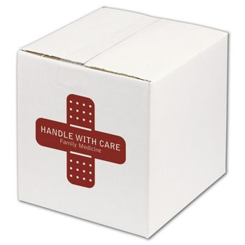 White Printed Corrugated Boxes, 1 Color/1 Side, 8 x 8 x 8