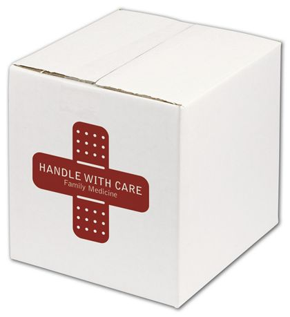 White Printed Corrugated Boxes, 1 Color/1 Side, 8 x 8 x 8""