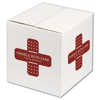 """White Printed Corrugated Boxes, 1 Color/4 Sides, 8x8x8"""""""