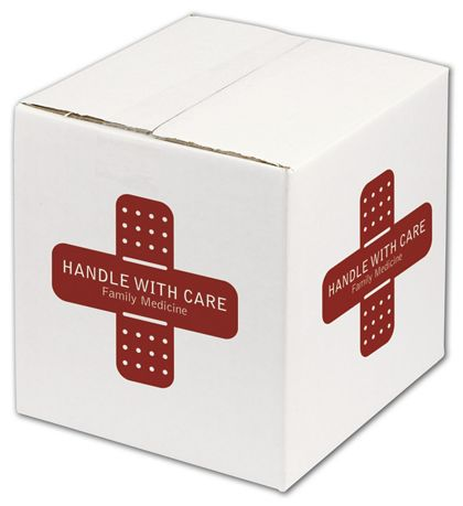 White Printed Corrugated Boxes, 1 Color/4 Sides, 8x8x8""
