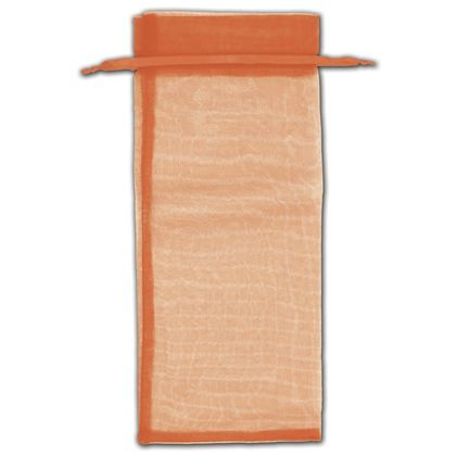 "Orange Organza Bags, 6 1/2 x 15"""