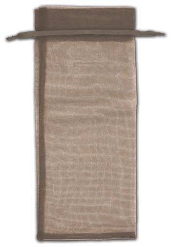 Dark Brown Organza Bags, 6 1/2 x 15