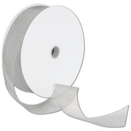 "Sheer Organdy Silver Ribbon, 1 1/2"" x 100 Yds"