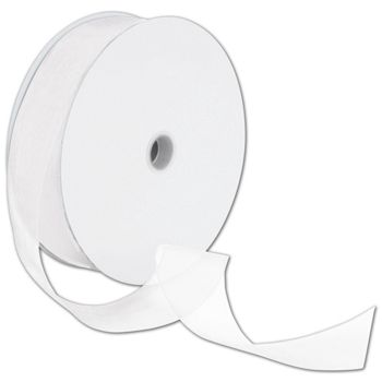 Sheer Organdy White Ribbon, 1 1/2