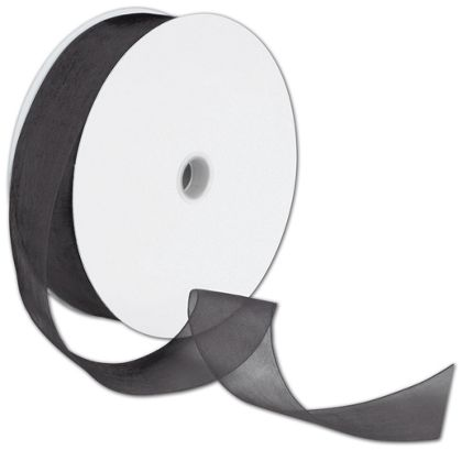 "Sheer Organdy Black Ribbon, 1 1/2"" x 100 Yds"