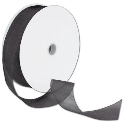 """Sheer Organdy Black Ribbon, 1 1/2"""" x 100 Yds"""