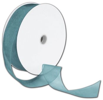 Sheer Organdy Empress Teal Ribbon, 1 1/2