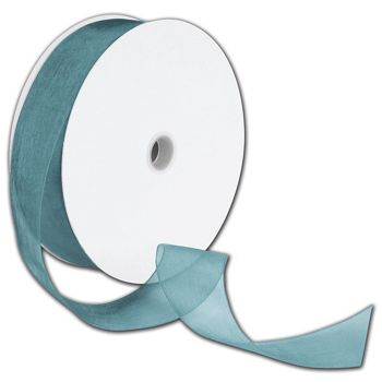 "Sheer Organdy Empress Teal Ribbon, 1 1/2"" x 100 Yds"