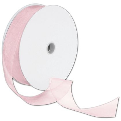 "Sheer Organdy Light Pink Ribbon, 1 1/2"" x 100 Yds"