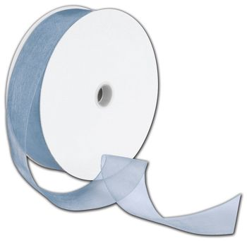 Sheer Organdy Dusty Blue Ribbon, 1 1/2