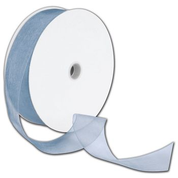 "Sheer Organdy Dusty Blue Ribbon, 1 1/2"" x 100 Yds"