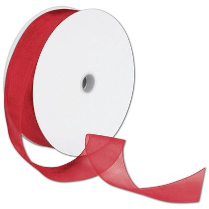 "Sheer Organdy Red Ribbon, 1 1/2"" x 100 Yds"
