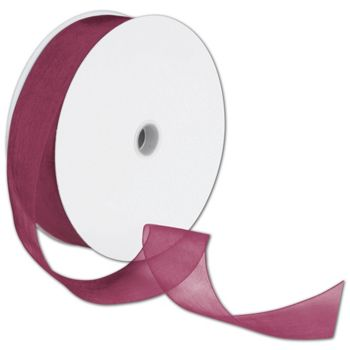 Sheer Organdy Burgundy Ribbon, 1 1/2
