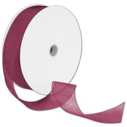 "Sheer Organdy Burgundy Ribbon, 1 1/2"" x 100 Yds"