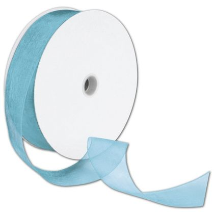 "Sheer Organdy Robin's Egg Ribbon, 1 1/2"" x 100 Yds"