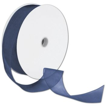 Sheer Organdy Navy Ribbon, 1 1/2