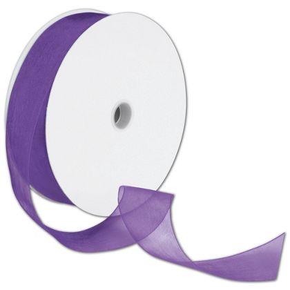 "Sheer Organdy Purple Ribbon, 1 1/2"" x 100 Yds"