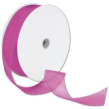 Sheer Organdy Fuchsia Ribbon, 1 1/2
