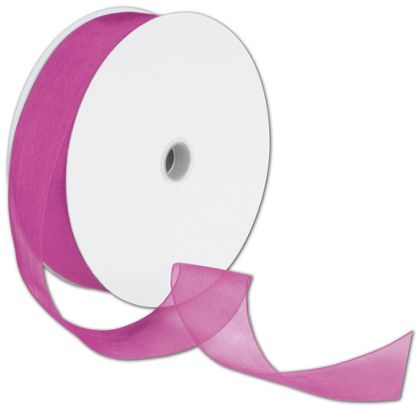 "Sheer Organdy Fuchsia Ribbon, 1 1/2"" x 100 Yds"